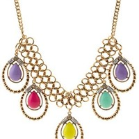Gold Colorful Teardrop Statement Necklace by Charlotte Russe