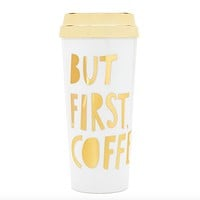 "Ban.do - Deluxe Hot Stuff Thermal ""But First, Coffee"" in Gold"