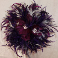 Purple Feather Brooch Bouquet- 1920s Inspired- Great Gatsby Rhinestone Wedding Bouquet