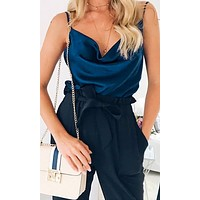 Summer Nights Blue Satin Sleeveless Spaghetti Strap Draped V Neck Camisole Basic Tank Top Blouse