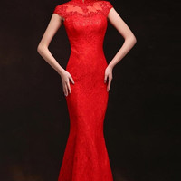 Lace & Mesh Chinese Wedding Qipao Red Gown