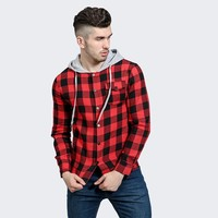 Long Sleeve Shirt Plaid Stylish Men Casual Denim Hats [10831836611]
