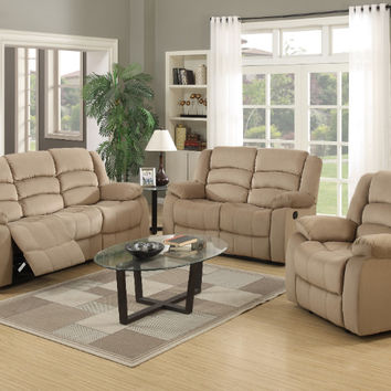Global United 9824BEI-2PC 2 pc Norma collection beige bella velour fabric upholstered sofa and love seat with recliner ends