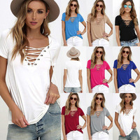 SIMPLE - Sexy V Neck Casual Boho Top Shrit T-shirt T-shirt b2248
