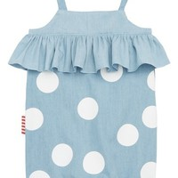 SOOKIbaby Spotty Chambray Romper (Baby Girls) | Nordstrom