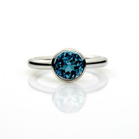 2.65ct, London blue topaz ring, Palladium, engagement ring, Bezel, Solitaire, Blue engagement, custom, london blue