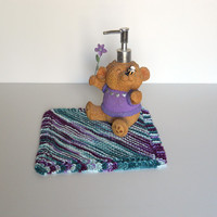 Hand Knitted Cotton Wash Cloth, Hand Knitted Cotton Dish Cloth, Hand Knitted Dust Cloth, multi-colored, colorful wash cloth