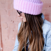 Pink mohair knit hat, Baby pink hat, Mohair winter hat