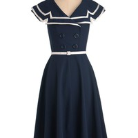 Tatyana 60's Vintage Sailor Pinup Sexy Navy Captain Circle Navy Swing dress