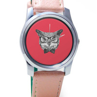 Mr Owl (Red) Illustration Wrist Watch