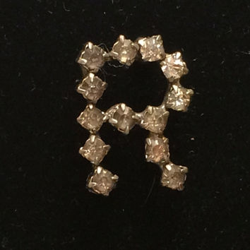 """Old 1940's Initial Pin """"R"""" Rhinestone Brooch Prongset Rhinestones Silver Bright Bling Dress Up A Vintage Sweater Costume Jewelry Simply Cute"""