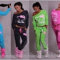 2017 autumn women ladies Hello Kitty Printed long sleeve Sweatshirts Set home pullover Suit Tracksuits hoodie soft pants+tops