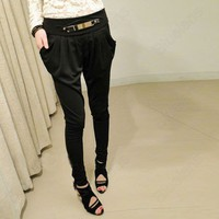 Ladies New Style Long Pencil Harem Pants Casual Skinny Trousers Leopard Black