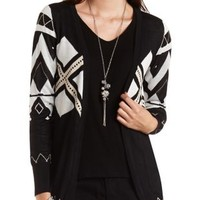Geometric Print Open Front Cardigan by Charlotte Russe