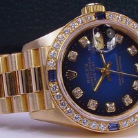 ROLEX - 26mm Ladies 18kt Gold SAPPHIRE President Blue Diamond 69178 SANT BLANC