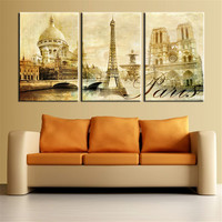 Wall Art Pictures Paris Famous Buildings Large Modern Home Wall Decor Abstract Canvas Print Canvas Painting Unframed 3 Pcs