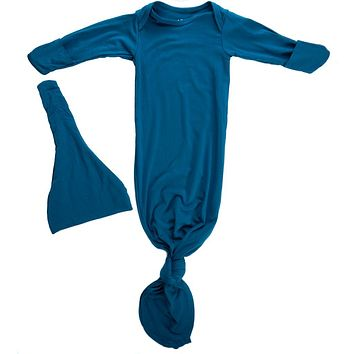 Blue Knotted Baby Gown and Knot Cap