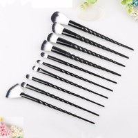 XIXI 10pcs Makeup Brush Set Unicorn Contour Base Powder Eyeshadow Brushes Black Handle Foundation Lip Nose Brushes