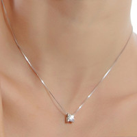 925 Sterling Silver Round Crystal Necklace Pendant