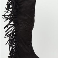 wide width flat boot with fringe
