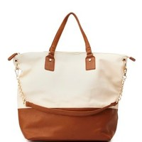 Brown Combo Oversized Color Block Tote Bag by Charlotte Russe
