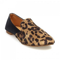 Fashion Leopard Print and Round Toe Design Women's Flat Shoes