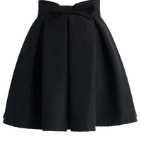 Sweet Your Heart Bowknot Pleated Skirt in Black Black