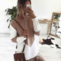 Casual White Patchwork Hollow-out Round Neck Long Sleeve Sweater