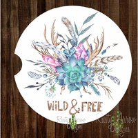 Wild and Free Feathers and Succulent Sandstone Car Coaster