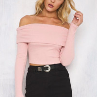 New fashion sexy off shoulder strapless long sleeve T-shirt