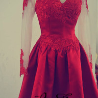 Homecoming Dress, Lace Homecoming Dress, Red Short Lace Prom Dress, Long Sleeve Homecoming Dresses, Long Sleeve Prom Dress Evening Gown