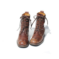 size  85  Carob Chip Brown Leather COLE HAAN by TanakaVintage