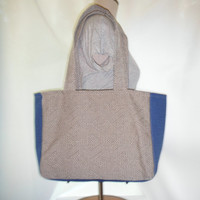 40% off SALE/ CLEARANCE Blue and Tan Woven Medium Size Shopper Tote Bag
