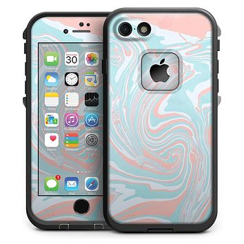 Marbleized Mint and Coral - iPhone 7 LifeProof Fre Case Skin Kit