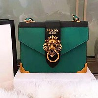 PRADA Newest High Quality Popular Women Leather Lion Head Shoulder Bag Crossbody Satchel Green