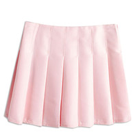 Pink Back Zipper Pleated Mini A-Line Skirt