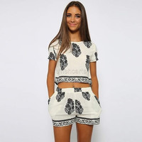 Women Casual Print O-Neck Short Sleeve Crop Tops Elastic Waist Shorts Two Piece Set = 1651271492