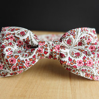 Men's Bow Tie by BartekDesign: pre tied flowers boho red gray groom wedding classic retro necktie chic handmade gift for him