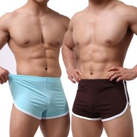 Mens Low-rise Running Tight Shorts Pajamas Comf Home Wear Sleepwear Trunks Underpants Fitness Gym Bodybuilding Sportswear