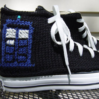 Dr Who TARDIS Knit Chucks by PrettySneaky on Etsy