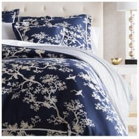 Navy Blue Branch Duvet Bedding Set