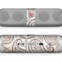 The Tan Highlighted Paisley Pattern Skin for the Beats by Dre Pill Bluetooth Speaker