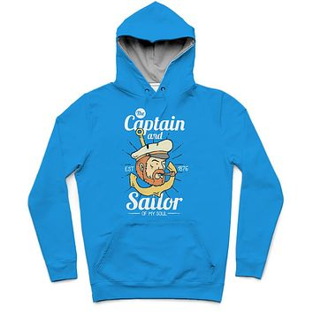 The Captain Trendy All-Over Print Solid Summer Sky Hoodie