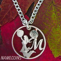 Cheerleader Necklace, With Custom Initial Monogram Hand Cut Coin