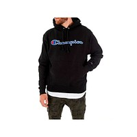 Champion Men's Chain Stitch Reverse Weave Black Hoodie