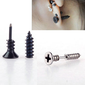 1 Pair Fashion Unisex Fine Stainless Steel Whole Screw Stud Earring = 1946268036