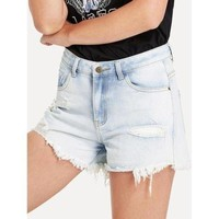 Acid Wash Distressed Denim Shorts