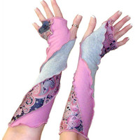 Pixie Arm Warmers, Upcycled Arm Warmers, Fingerless Gloves, Upcycled Clothing, Cosplay Gloves, OOAK Arm Warmers, Asymmetric Arm Warmers
