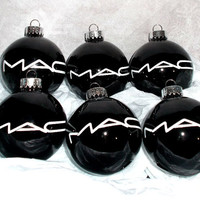 MAC Cosmetics Makeup 6PC Glass Ornament Set