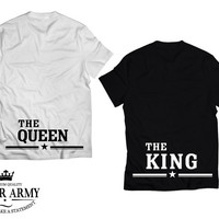 The QUEEN and the KING tshirts | Matching couple shirts, King Queen couple tee shirts, Unisex Adult tee shirt style